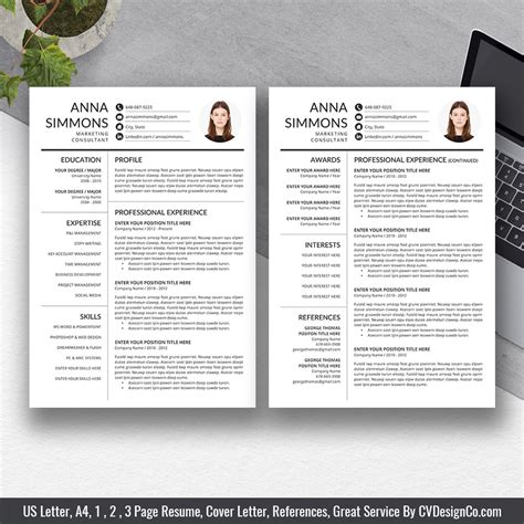 selling ms office word resume cv bundle  anna resume templates cv templates