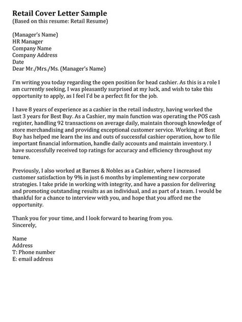 retail cover letter sample bits pieces pinterest letter sample entry level  examples
