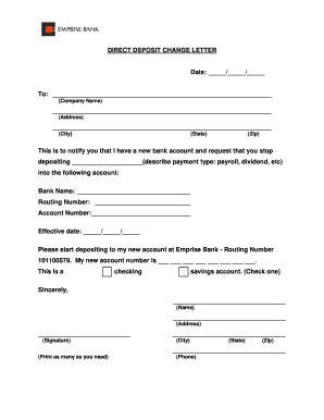 bank letter for direct deposit letter to bank for deposit fill printable