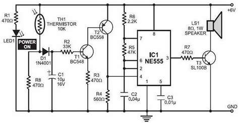 Simple Fire Alarm With Thermistor Circuit Scheme