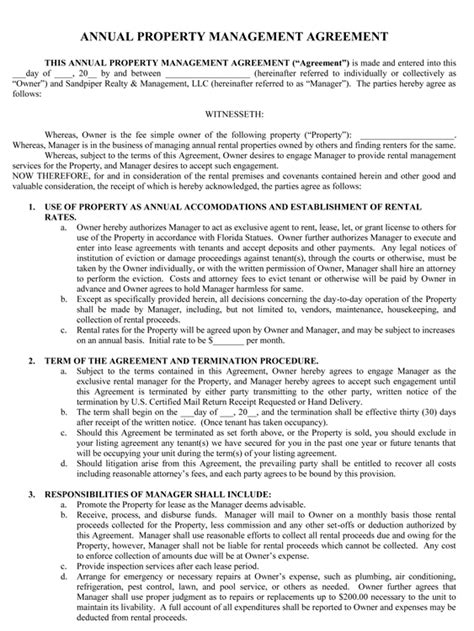 sample management agreement sandpiper realty