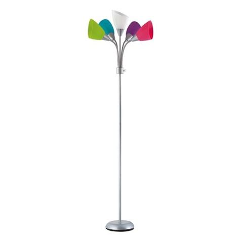 multi color glass 5 arm floor l eclectic and funky floor l in a silver finish with five
