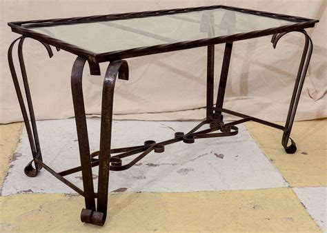 glass and iron table french 1940 39 s wrought iron glass top coffee table at 1stdibs