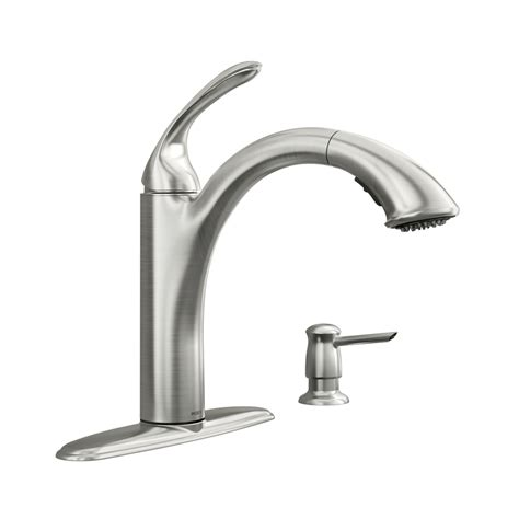 moen kitchen pullout faucet shop moen kinzel spot resist stainless 1 handle pull out