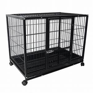 37quot heavy duty metal dog pitbull cage crate kennel playpen With temporary dog kennel