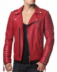 Veste En Cuir Rouge Homme : blouson motard simili cuir homme rouge cintr ~ Melissatoandfro.com Idées de Décoration