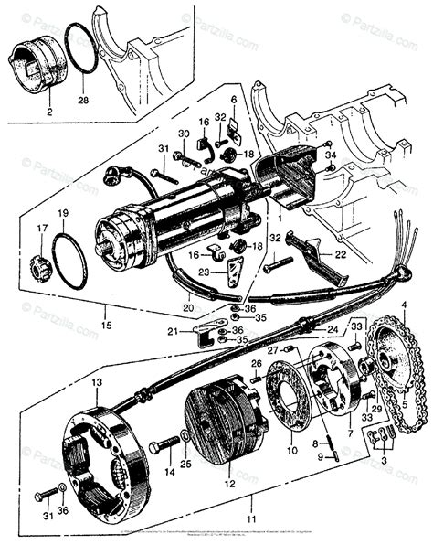 honda motorcycle with no year oem parts diagram for alternator starting motor