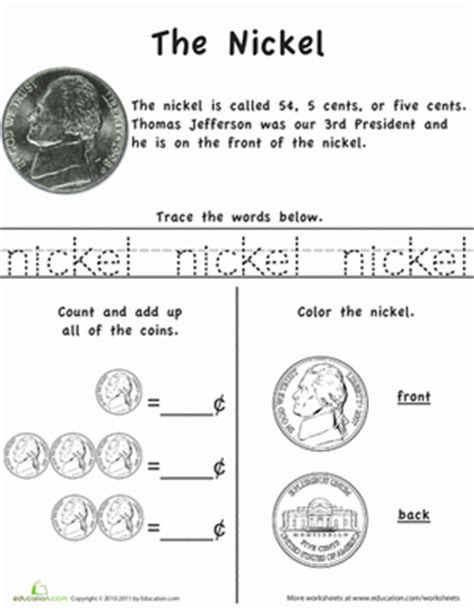 money activities for preschool learn the coins the nickel worksheet education 595