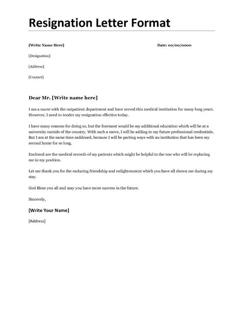 resignation letter format  personal reason document blogs