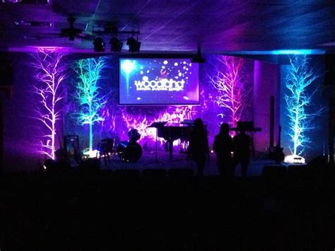church set design trees and roughage church stage design ideas