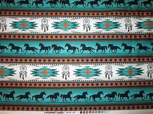Navajo Totem Horse Border Teal Gold Cotton Fabric Fat Quarter