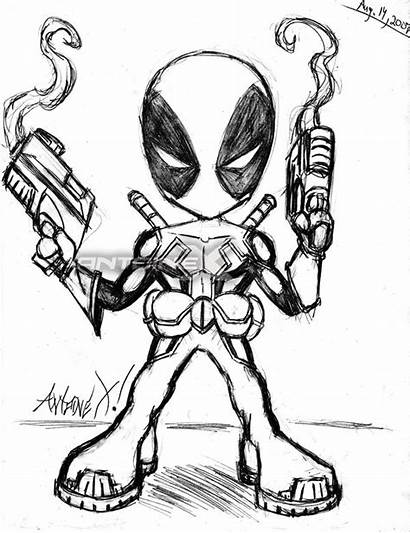 Deadpool Chibi Sketch Drawing Cartoon Coloring Antoine