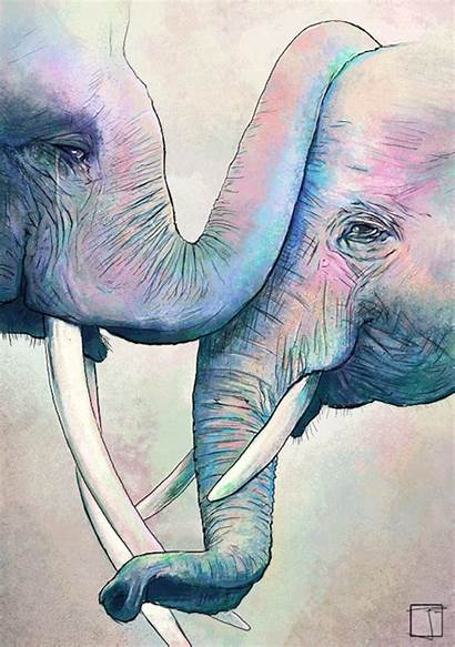 Elephant Happy Colorful Watercolor Elephants Rebloggy Animals