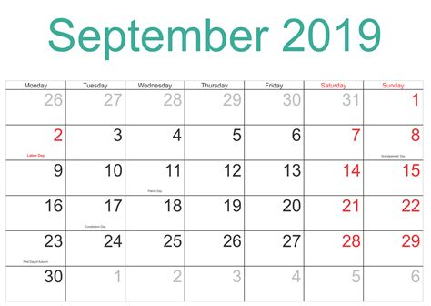 september  holidays calendar