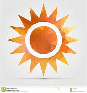 Abstract Geometric Orange Sun From Triangular Faces For ...