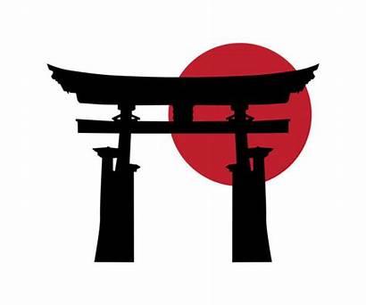 Gate Japanese Temple Vector Torii Japan Sun
