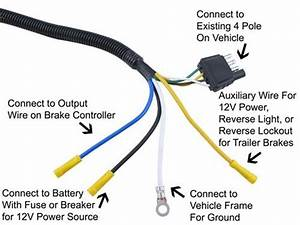 Adapter 4 Pole To 7 Pole Vehicle End Trailer Connector Tow