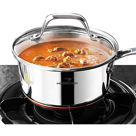 homi chef mirror polished copper band nickel  stainless steel  qt saucepan  ebay