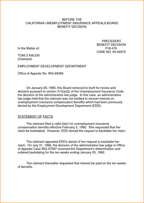 sample appeal letter  unemployment denial appeal