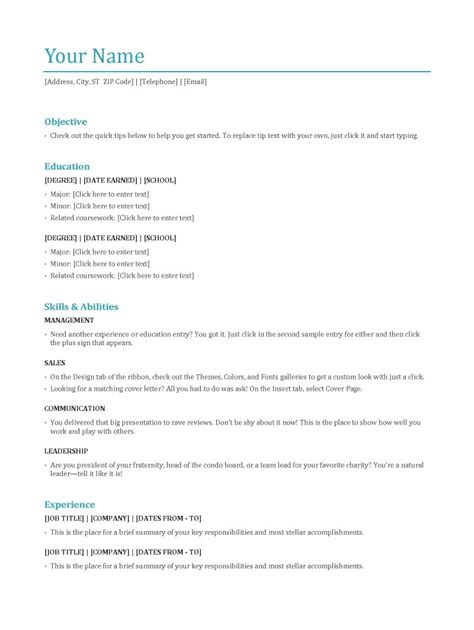 Most Common Resume Templates by Most Popular Resume Templates Sle Resume Cover Letter