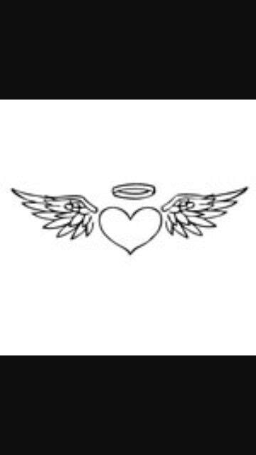 Heart with wings and halo | Wings tattoo, Heart with wings