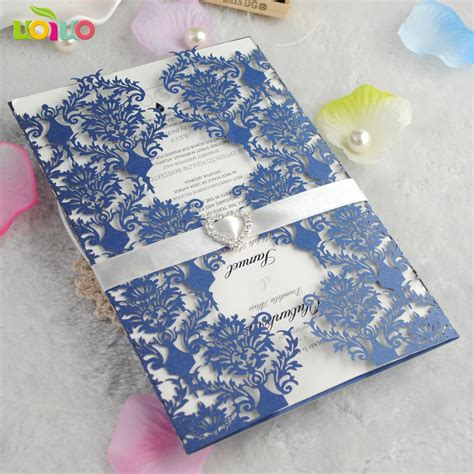 50sets wedding invitation card royal blue color elegant