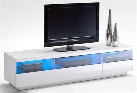 meuble tv design blanc laque a led multicolore 3 niches et 3 tiroirs quotes
