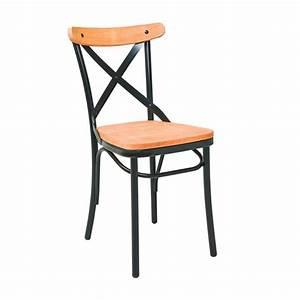 Chaise Bistrot Metal : chaise bistrot en metal assise bois naturel cmg 15291 one mobilier ~ Teatrodelosmanantiales.com Idées de Décoration