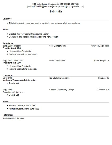 Free Resume Creator by Resume Exle 13 Free Resume Creator