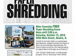 free paper shredding event at niles township october 15th With document shredding evanston il