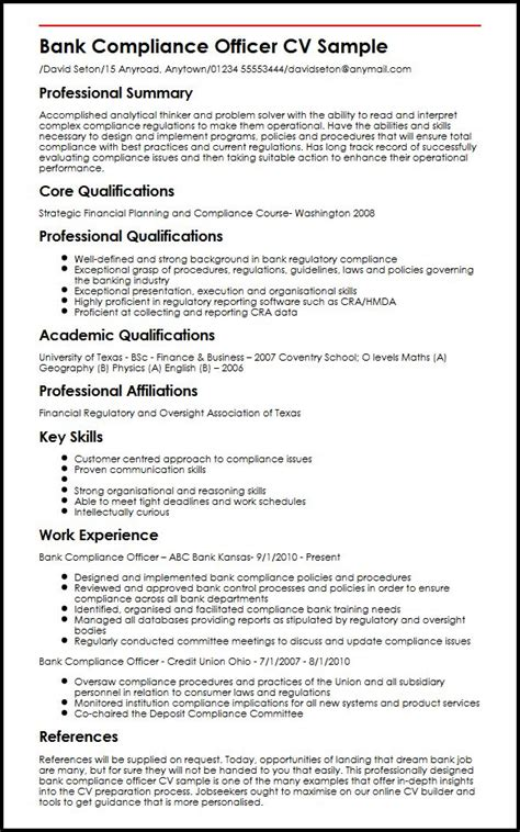 Resume Format For Experienced Bank Officer by Bank Compliance Officer Cv Sle Myperfectcv