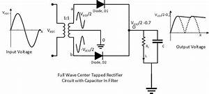 Center Tapped Full Wave Rectifier With Capacitor Filter