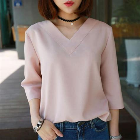 v neck blouse pullover office blouses work shirts