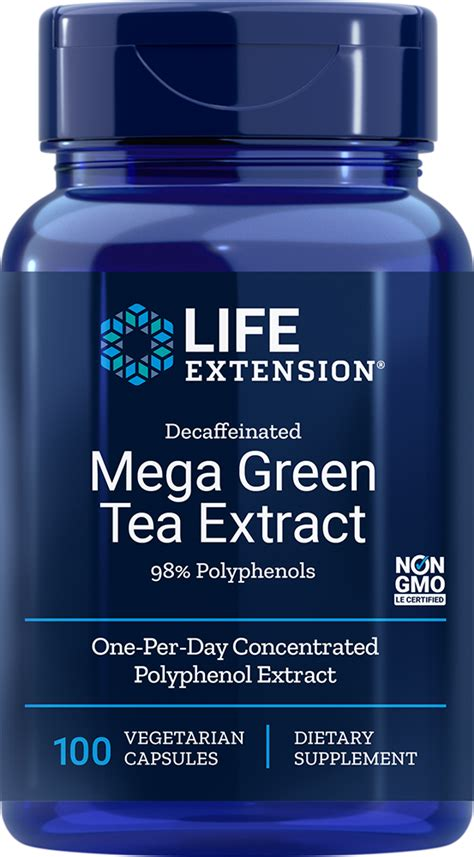 mega green tea extract decaffeinated  capsules life