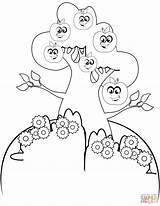 Coloring Tree Apple Cartoon Pages Printable Drawing Tutorials Paper sketch template