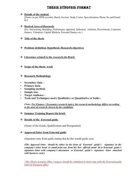 Research Synopsis Template by Synopsis Format