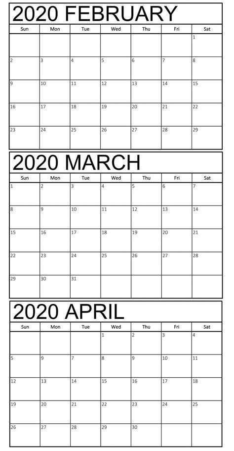 blank february  april  calendar magic calendar