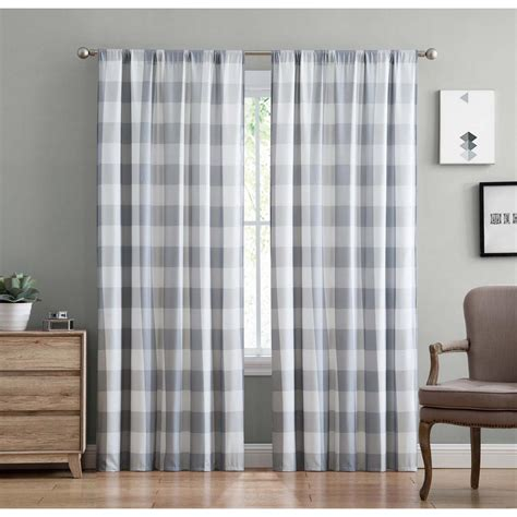 Plaid Drapery Panels by Truly Soft Everyday Buffalo Plaid Gray Drape Set Ec2093gy