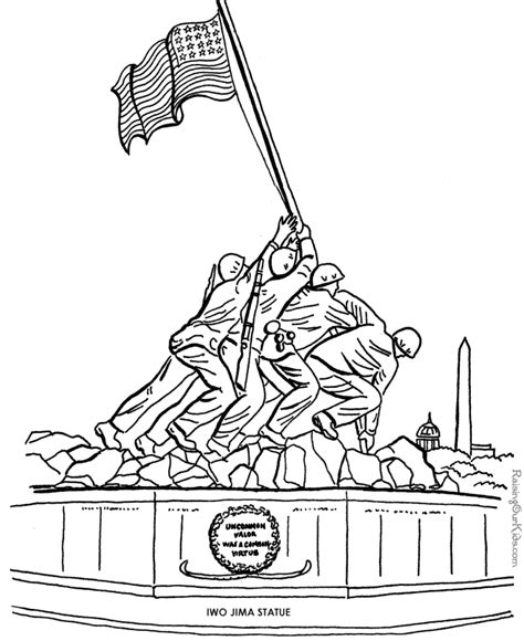 veterans day iwo jima picture to color