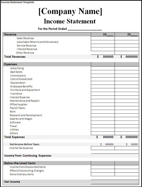 Income And Expense Statement Template Income Statement Template Income Spreadsheet Expense