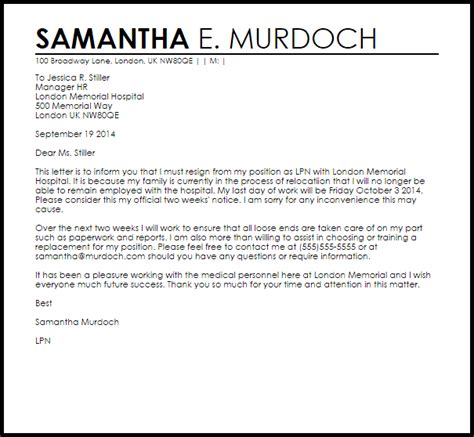 resignation letter  due  relocation letter