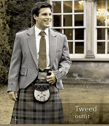 In Tartan The Highland Grooms by Highland Dress Classic Tweed Luxury Kilts By