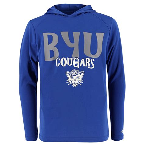 Youth B-Core BYU Cougars Hooded Long Sleeve Shirt - Badger