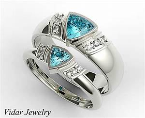 Trillion Aquamarine Matching Wedding Bands For His And Her