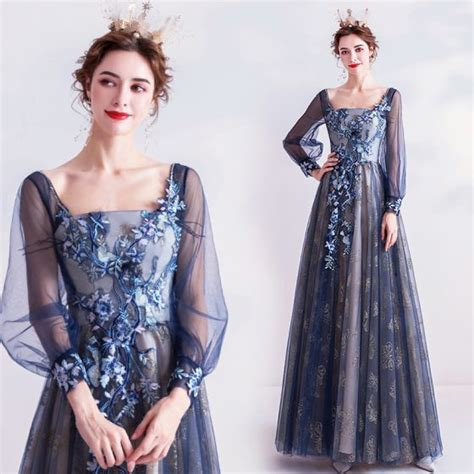 Vintage / Retro Navy Blue Prom Dresses 2020 A-Line ...