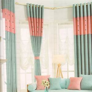 Button accent light blue and pink modern curtains 2016 new for Modern curtains for bedroom 2016