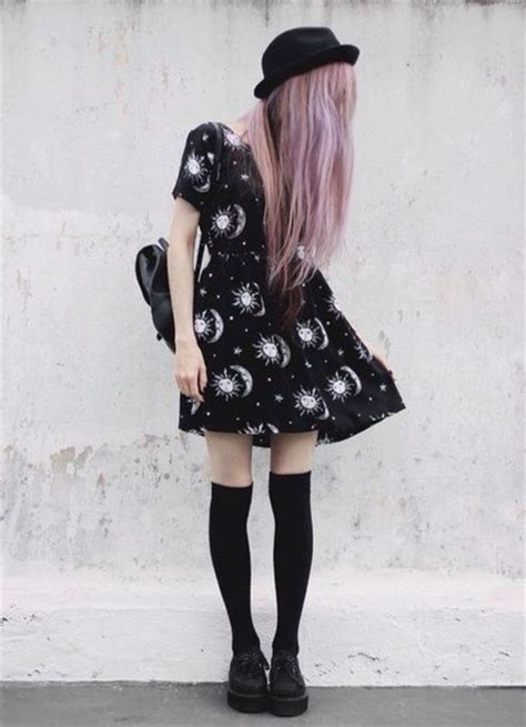 Dress tumblr grunge black dress tumblr dress tumblr outfit little black dress bag hat ...