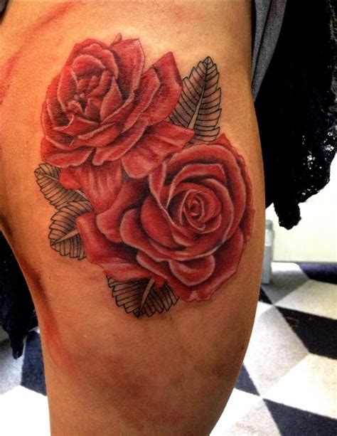 watercolor rose tattoo designs red roses  thigh tattoo  aireelle beautiful body art