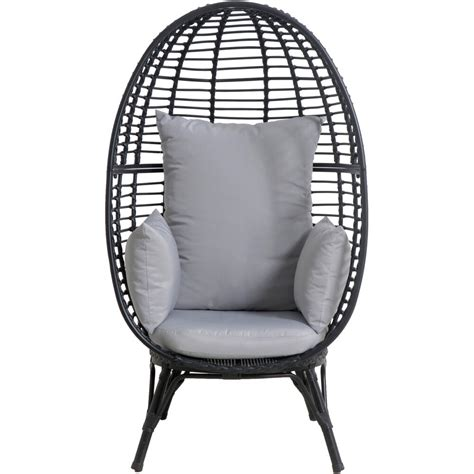 Swing hanging egg rattan chair outdoor garden patio hammock stand porch cushions. Mod Furniture Poppy Outdoor Stationary Egg Chair with Boho Grey Oversize Cushions, POPPYEGG-GRY