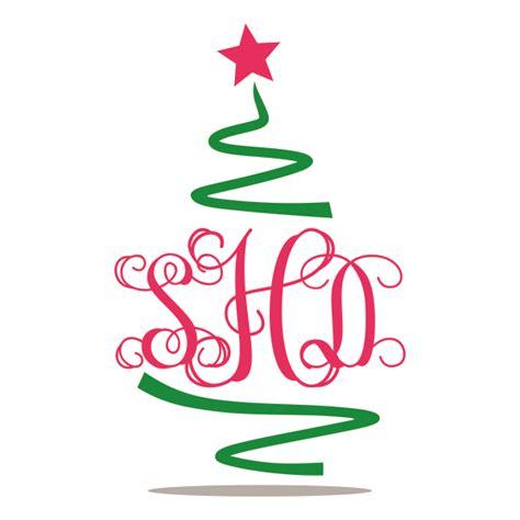 christmas tree monogram svg cuttable frames